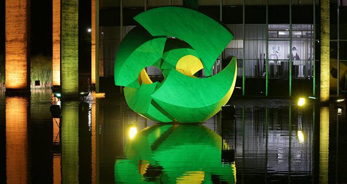 A iluminação do Palácio de Itamaraty em comemoração de 100 dias até os Jogos Olímpicos do Rio