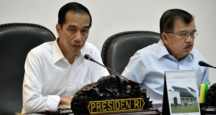 Joko Widodo e Jusuf Kalla, presidente e vice-presidente da Indonésia.
