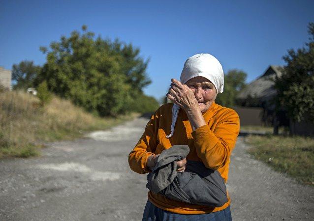Moradora da região de Donbass