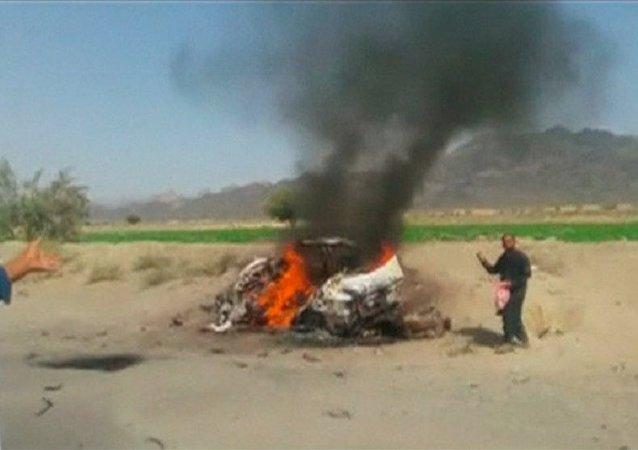O veículo de Mullah Mansour (o líder do Talibã) abatido pelos drones dos EUA
