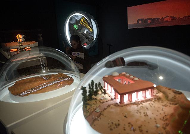 A maquete de estação em Marte em uma exposição em Moscou.