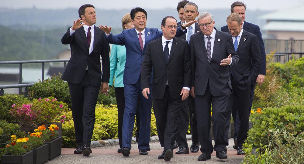 Líderes do G7 durante o primeiro dia da cúpula do grupo na cidade de Ise, Japão, 26 de maio de 2016