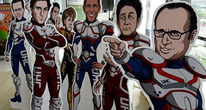 Imagens estilizadas dos líderes do G7 em fatos de super-heróis de uma ONG durante a cúpula do G7 na cidade de Ise, Japão, 26 de maio de 2016
