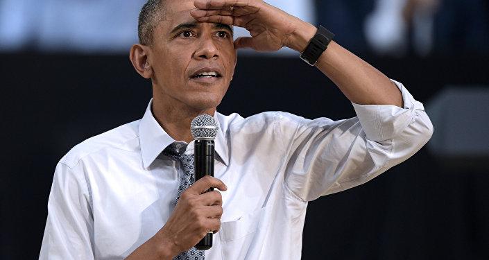 O presidente norte-americano Barack Obama faz discurso no centro cutural Usina del Arte em Buenos Aires durante a sua visita à Argentina, março de 2016