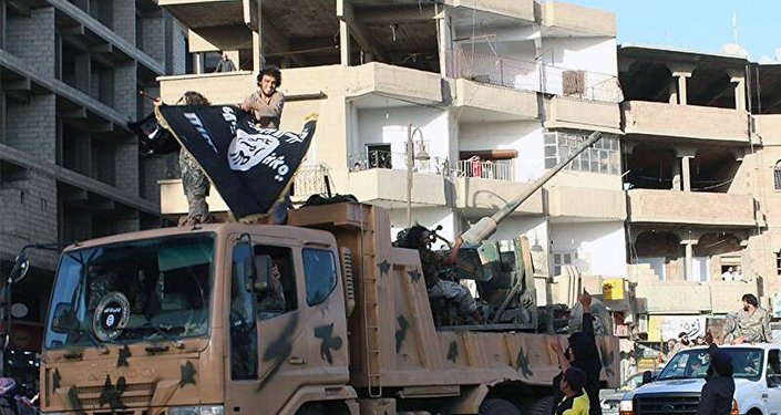 Os militantes de Daesh na cidade de Raqqa.