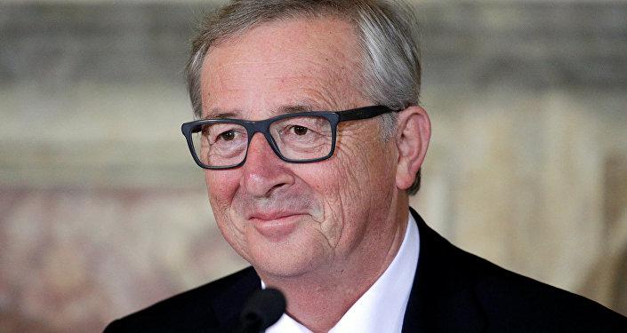Presidente da Comissão Europeia Jean-Claude Juncker durante a reunião na monte Capitolina, Roma, Itália, 5 de maio de 2016