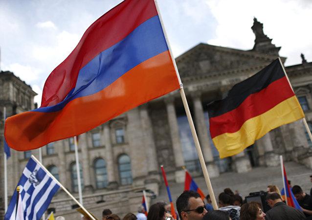 As bandeiras de Alemanha  e Armênia