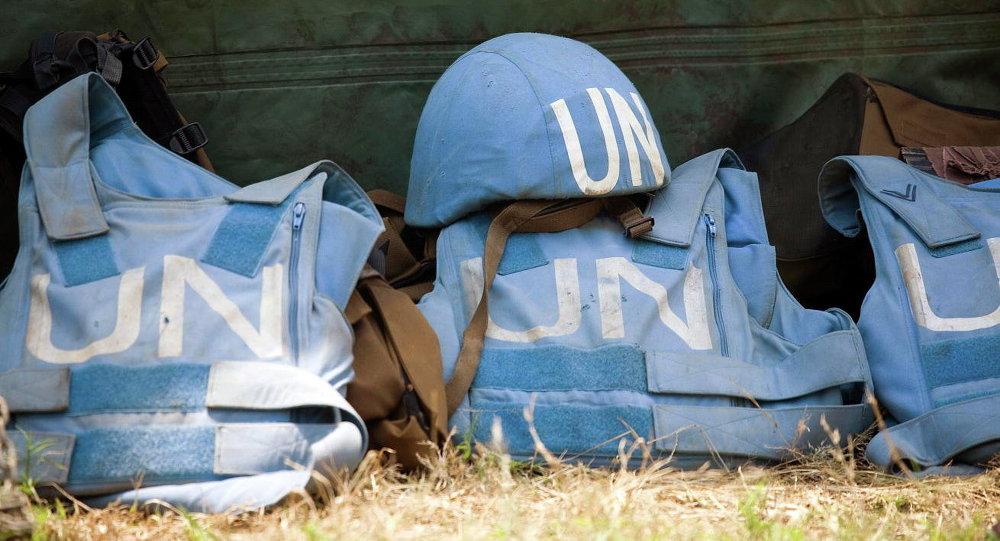 Capacetes das forças de manutenção da paz das Nações Unidas