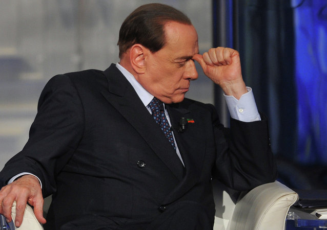 Former Italian Prime Minister Silvio Berlusconi attends the RAI 1 television programme Porta a Porta on April 24, 2014 in Rome.