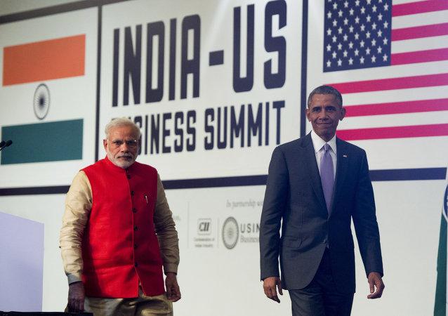 Primeiro-ministro da Índia Narendra Modi e o presidente dos EUA Barack Obama