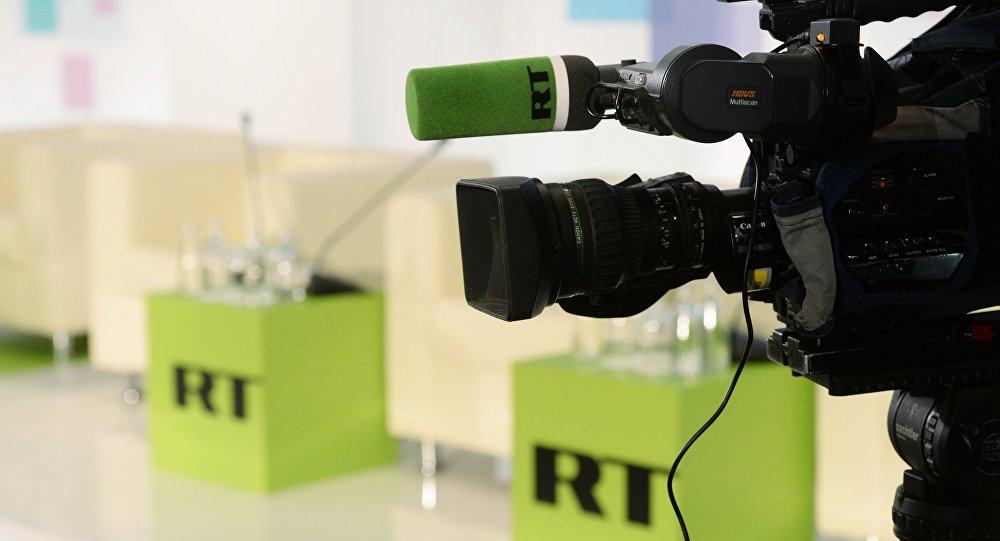Logo do canal de TV RT, um dos mais importantes da Rússia (arquivo)