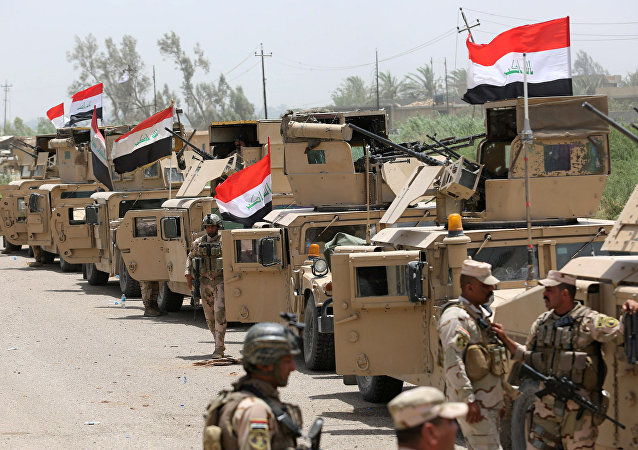 Veículos militares do Iraque nos arredores de Fallujah