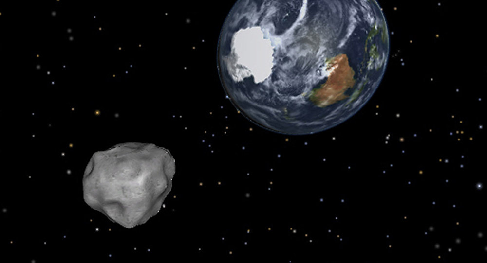 Simulação da aproximação de um asteroide.