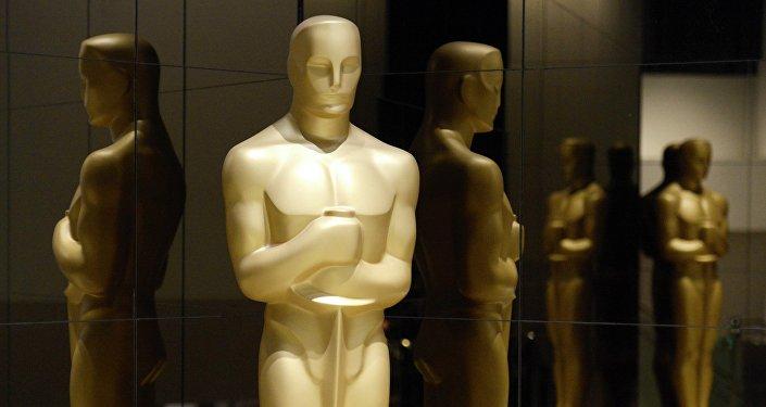 Estátua de Oscar, 87 Academy Awards, Beverly Hills, California, 15 de janeiro de 2015