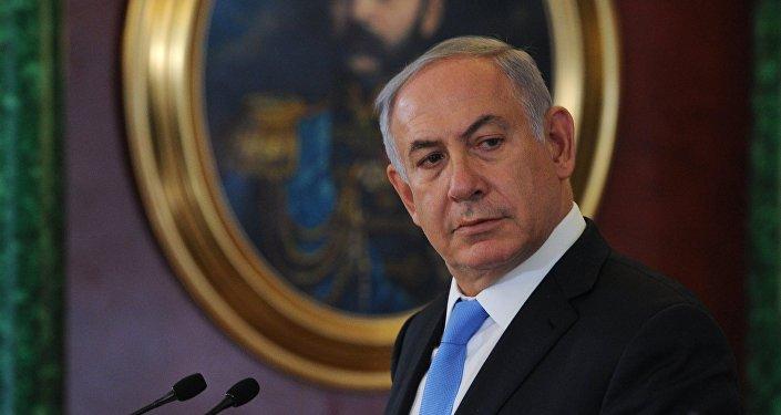 Primeiro-minsitro de Israel Benjamin Netanyahu durante o encontro com o presidente russo Vladimir Putin, Kremlin, Moscou, Rússia, 7 de junho de 2016