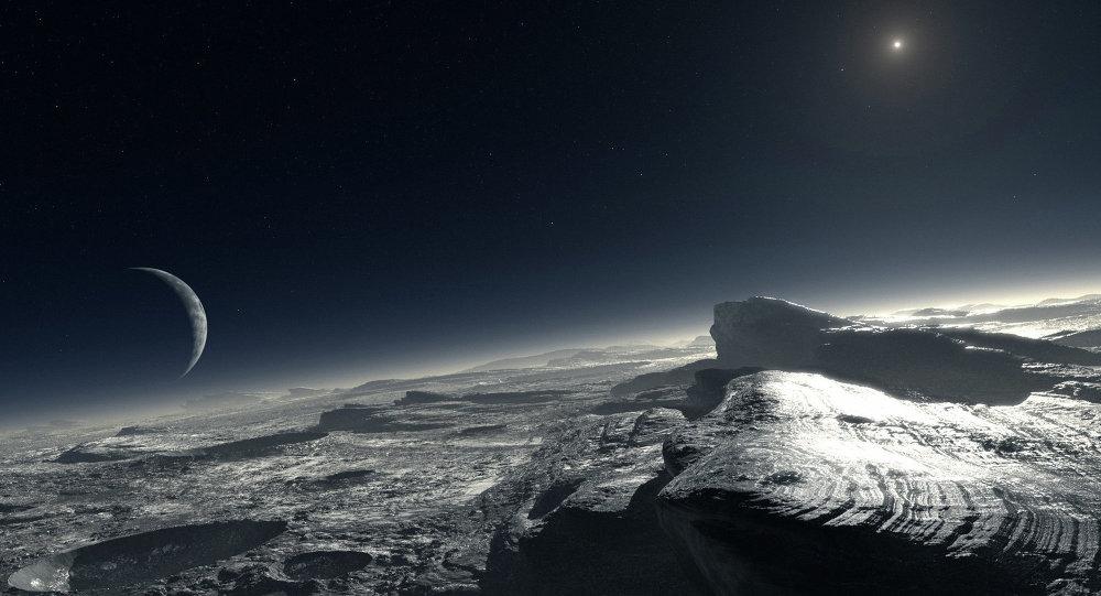 Representação artística da superfície de Plutão com Caronte à distância