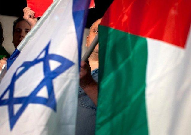 Bandeiras de Israel e da Palestina