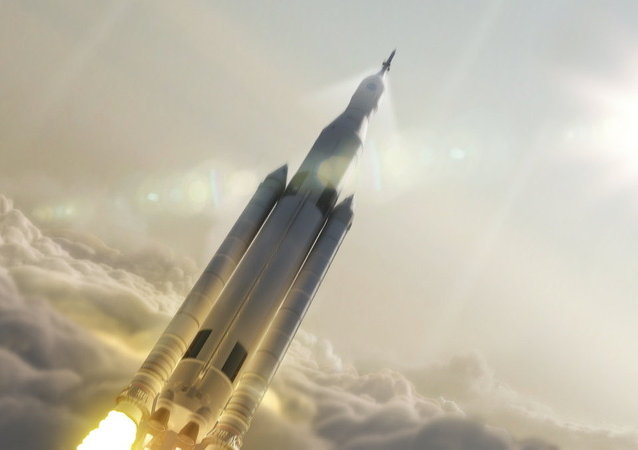 Uma concepção do Sistema de Lançamento Espacial da NASA