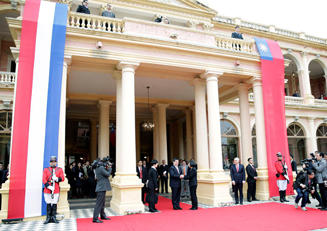 Presidente do Paraguai, Horacio Cartes, recebe a chefe de Estado de Taiwan, Tsai Ing-wen, em Assunção