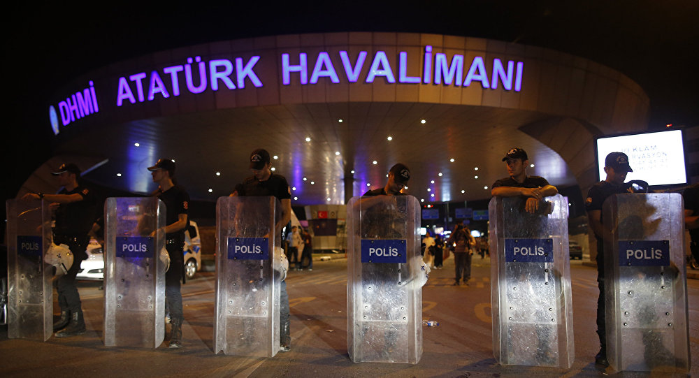 Turkish police block the entrance to Istanbul's Ataturk airport