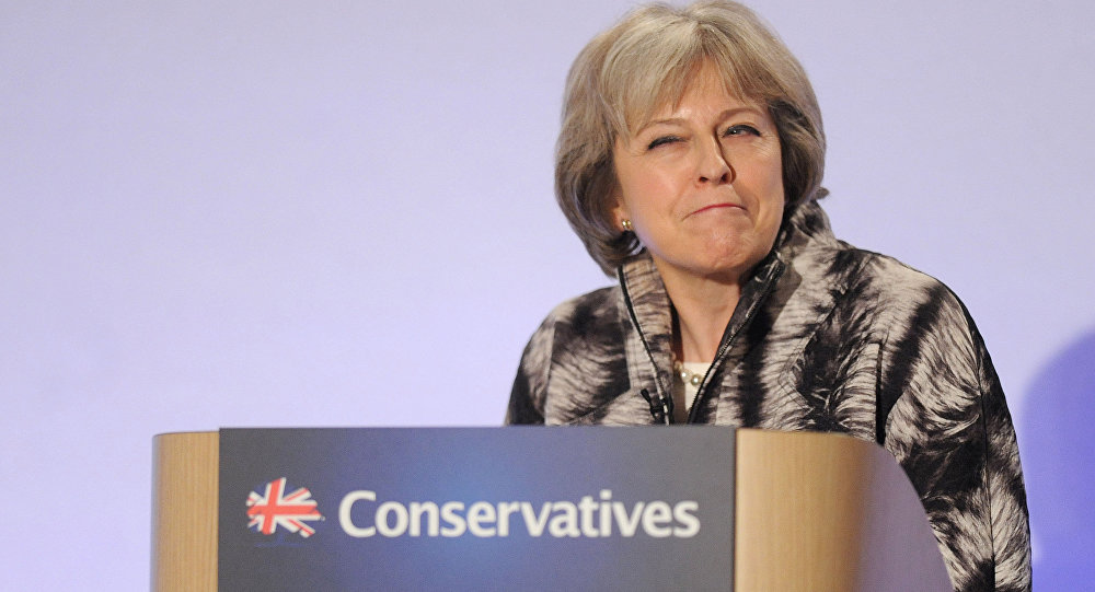 Britain's Home Secretary, Theresa May, addresses the Conservative Spring Forum in central London, Britain April 9, 2016.