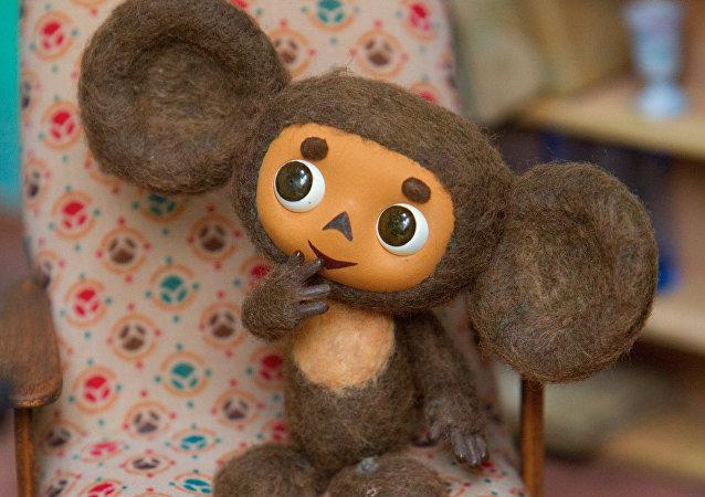Cheburashka, personagem do desenho animado soviético no muséu do estúdio de animação Soyuzmultfilm