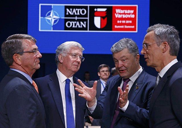 Presidente da Ucrânia, Pyotr Poroshenko, durante a cúpula da OTAN em Varsóvia