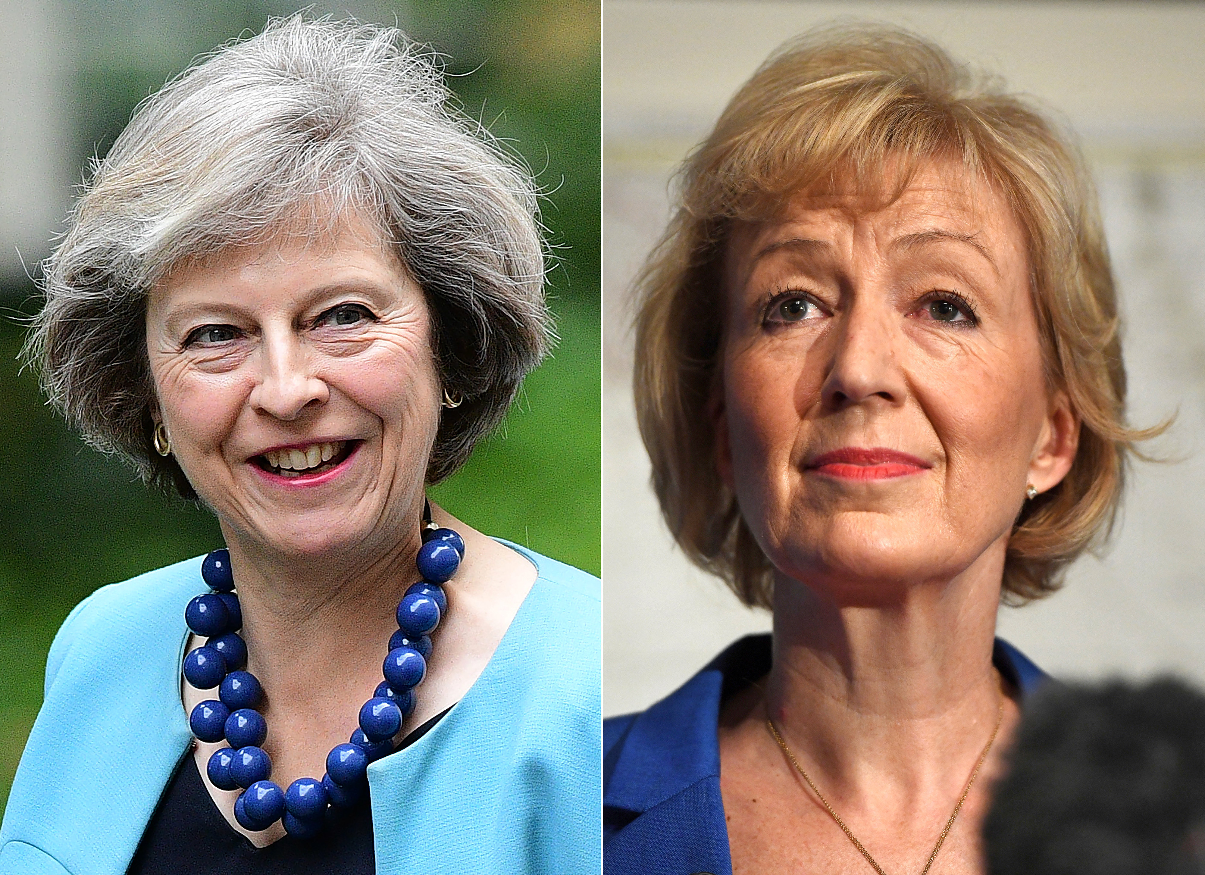 Ministra dos Assuntos Internos Theresa May e a vice-ministra da Energia Andrea Leadsom