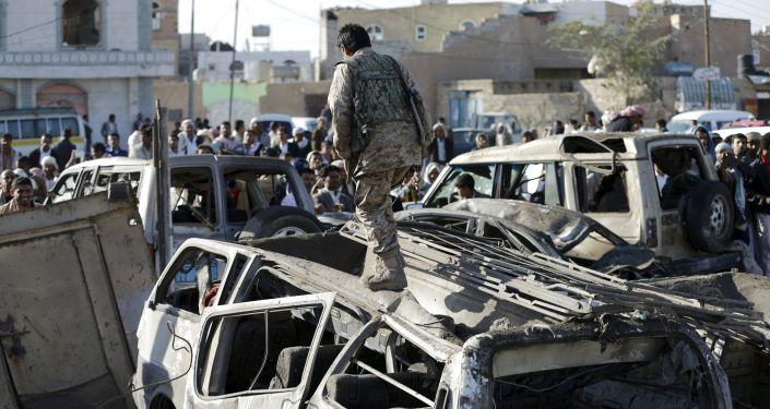 Capital do Iêmen após bombardeios