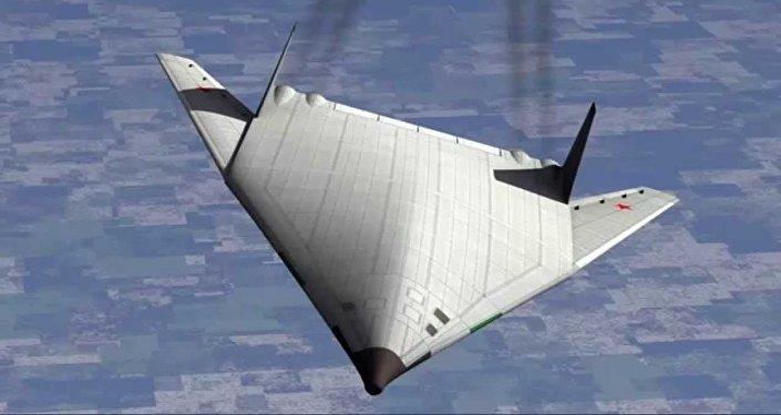 Imagem artística do avião PAK DA - bombardeiro hipersónico de reconhecência e antinavio