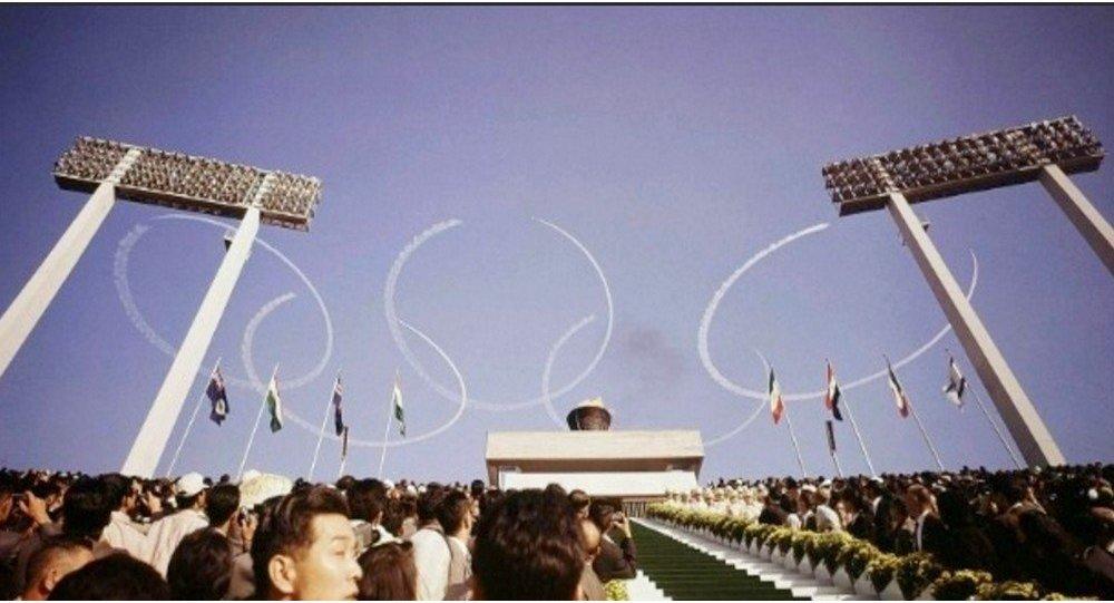 Momento da cerimônia de abertura dos Jogos Olímpicos de Tóquio, em 1964