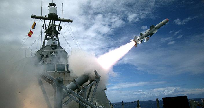 O lançamento de teste do míssil Harpoon pela Marinha norte-americana