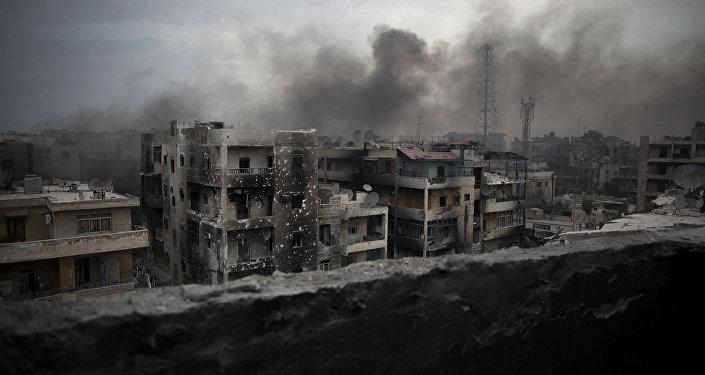 Bairro Saif Al Dawla da cidade de Aleppo (Síria) - foto de arquivo