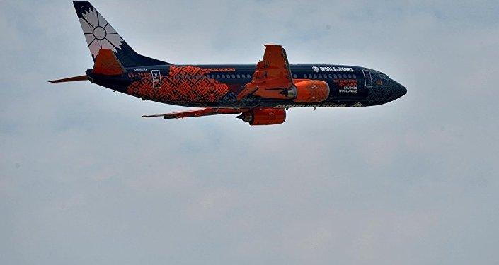 Boeing da companha bielorrussa Belavia em pleno voo