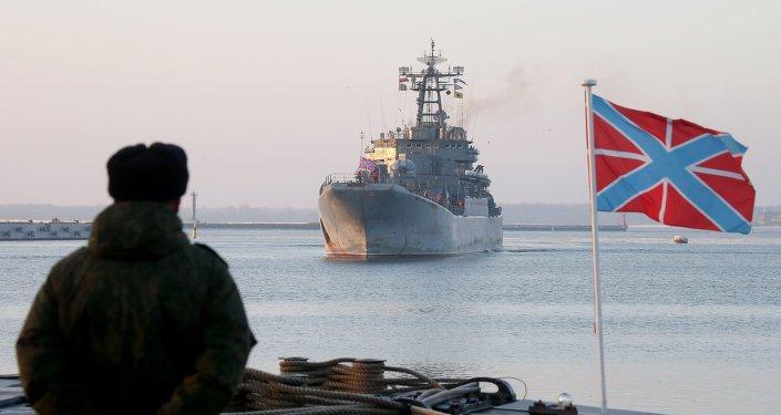O navio da Frota Russa do Báltico