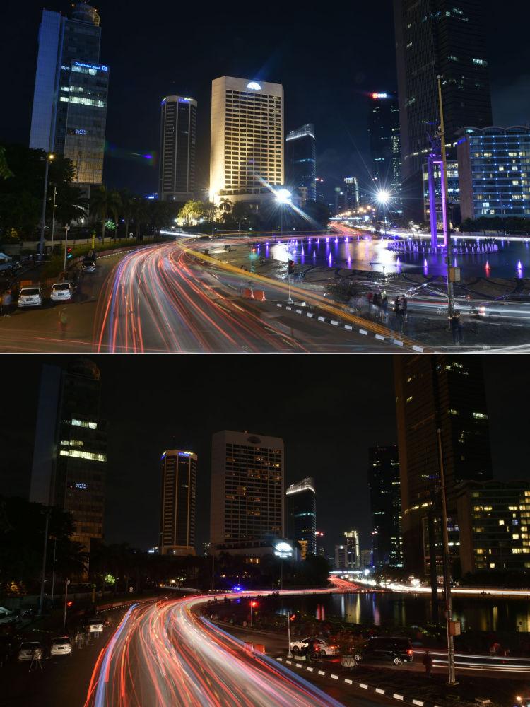 Jakarta durante a ação ambiental Hora do Planeta