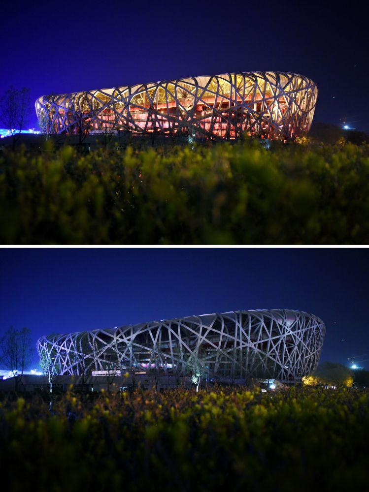 Estádio Nacional de Pequim (China) durante a ação ambiental Hora do Planeta