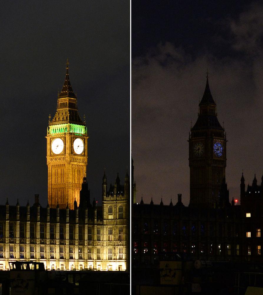 Torre Big Ban em Londres durante a ação ambiental Hora do Planeta