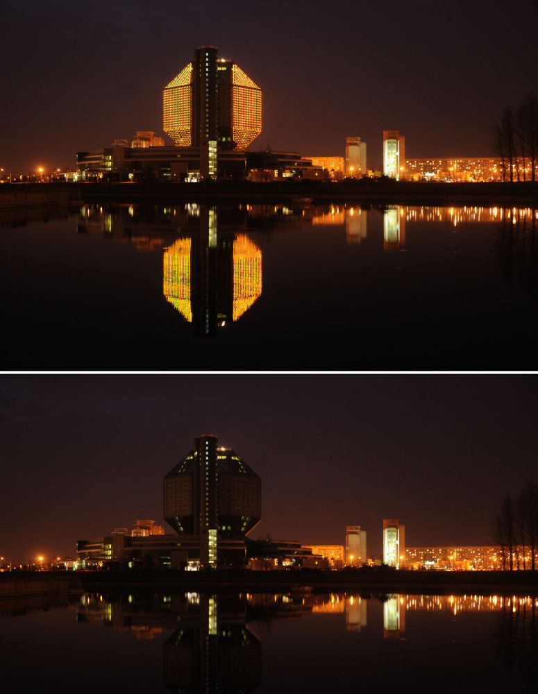 Biblioteca Nacional da Bielorrússia durante a ação ambiental Hora do Planeta