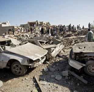 Área destruída por ataques da coalizão internacional liderada pela Arábia Saudita no Iêmen