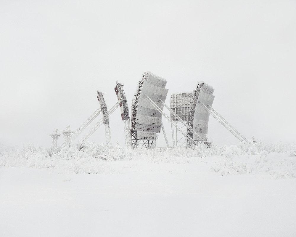 Uma antena troposférica no norte da Rússia - este tipo de ligação se tornou obsoleto.
