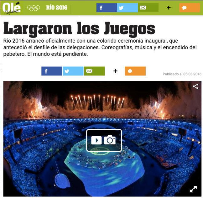 Jornal argentino Olé elogia a abertura dos Jogos Rio 2016