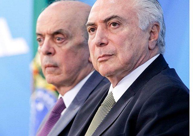 Ministro José Serra e presidente Michel Temer