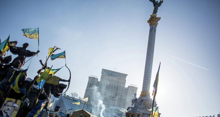 Maidan Nezalezhnosti, em Kiev, durante protesto