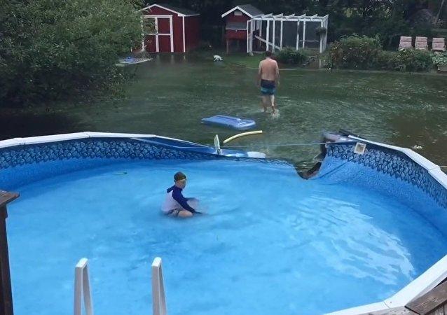 Piscina origina inundação