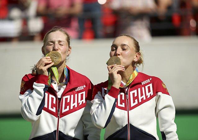 As tenistas russas Ekaterina Makarova y Elena Vesnina