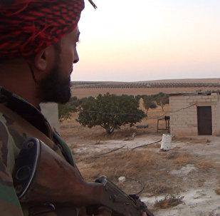 Militar do exército sírio na província de Hama, Síria, foto de arquivo