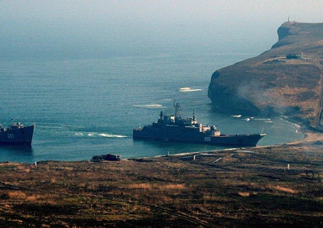 Navios da Frota do Pacífico durante treinamentos (foto de arquivo)
