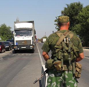 Ponto de controle Armyansk, na fronteira entre a Ucrânia e a Rússia, na península da Crimeia (foto de arquivo)