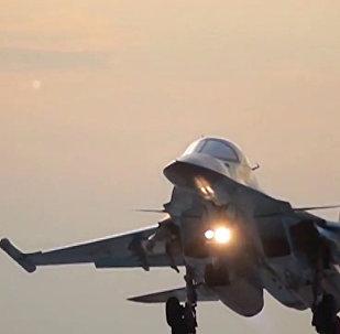 Su-34 russo na base aérea iraniana de Hamadã